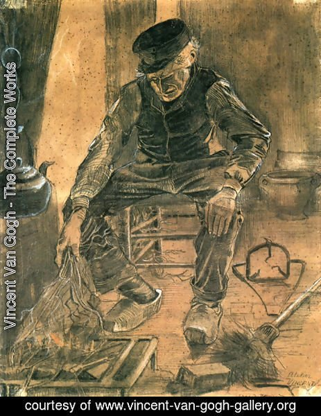 Vincent Van Gogh - An Old Man Putting Dry Rice on the Hearth