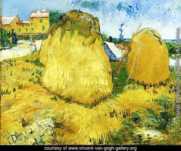 Stacks of Wheat near a Farmhouse