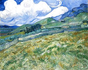 Vincent Van Gogh - Wheatfield with Mountains in the Background