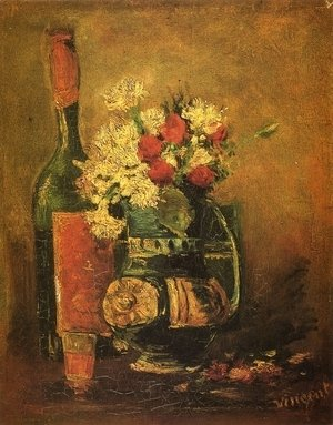 Vincent Van Gogh - Vase with Carnations and Bottle