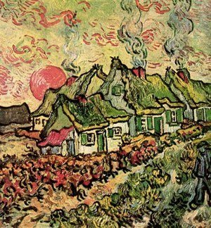 Vincent Van Gogh - Thatched Cottages in the Sunshine