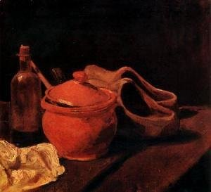 with Earthenware, Bottle and Clogs