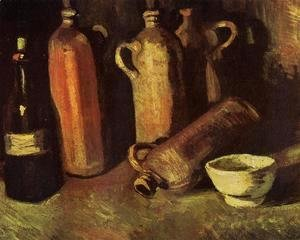 Vincent Van Gogh - with Four Stone Bottles, Flask and White Cup