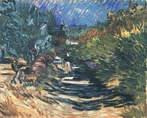 Vincent Van Gogh - A Road at Saint-Remy with Female Figure