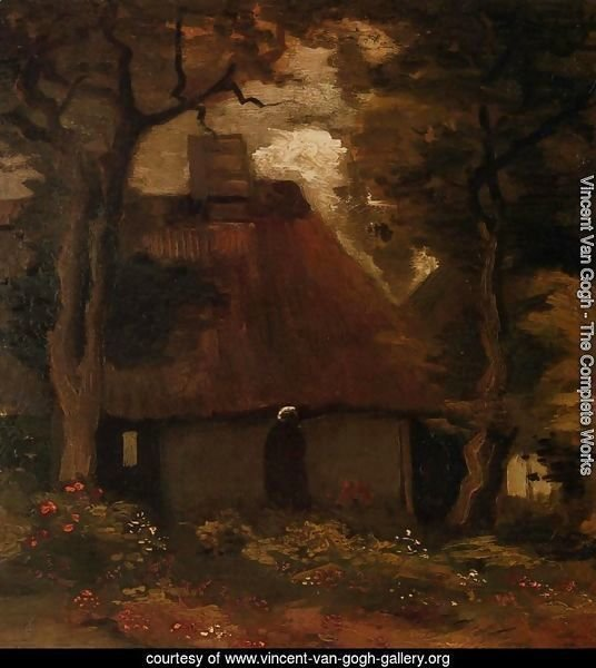 Cottage and Peasant Woman under the Trees