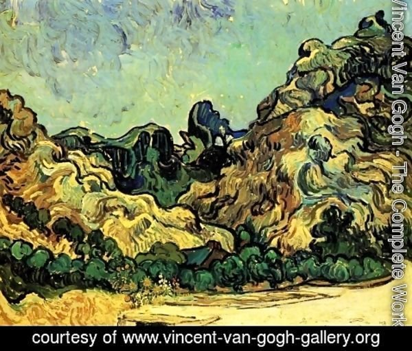 Vincent Van Gogh - Mountains at Saint-Remy with Dark Cottage