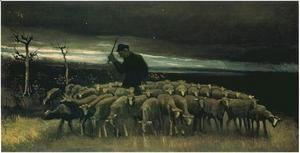 Vincent Van Gogh - shepherd with a flock of sheep 1884