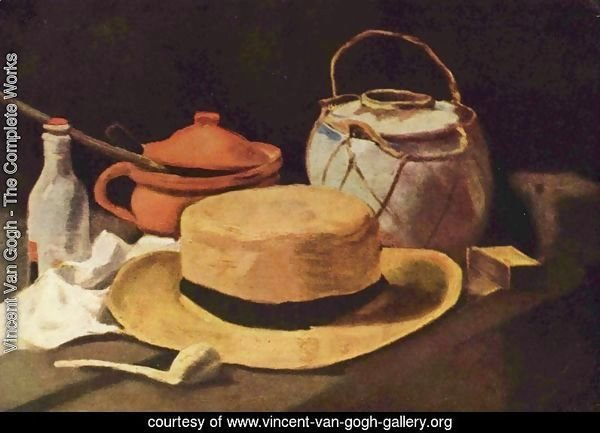 still life with yellow hat