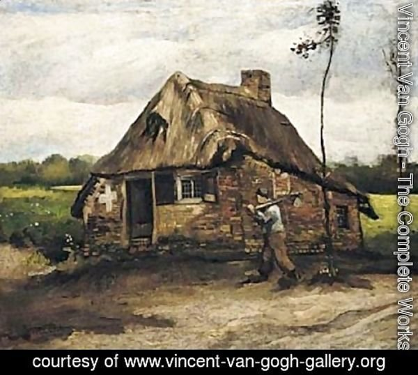 Vincent Van Gogh - Cottage With Peasant Coming Home 1885