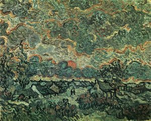 Vincent Van Gogh - Cottages And Cypresses Reminiscence Of The North 1890