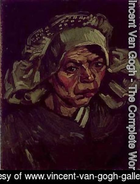 Vincent Van Gogh - Head Of A Peasant Woman With A White Cap 1885