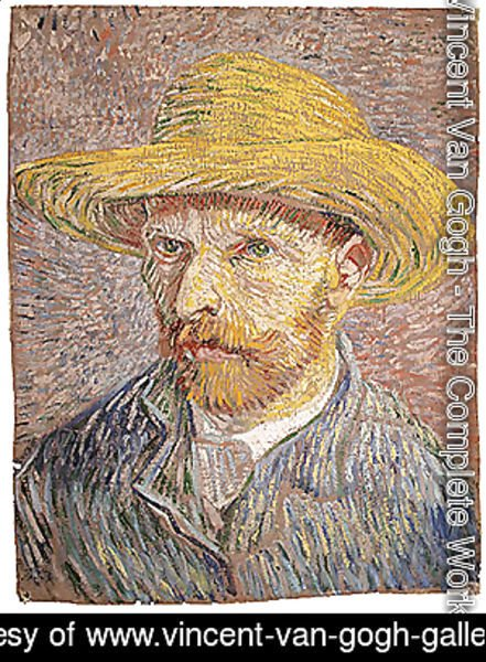 Vincent Van Gogh - Self portrait with a Straw Hat (verso The Potato Peeler) probably 1887