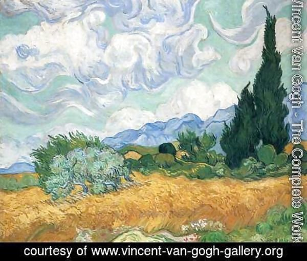 Vincent Van Gogh - Wheat Field with Cypresses 1889