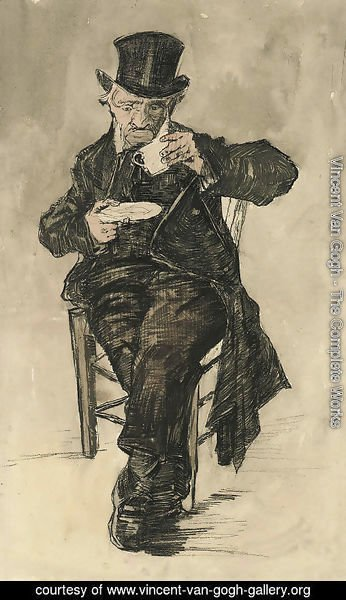 Orphan Man with a Top Hat Drinking a Cup of Coffee