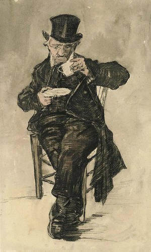 Vincent Van Gogh - Orphan Man with a Top Hat Drinking a Cup of Coffee