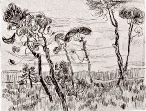 Vincent Van Gogh - Six pines near the enclosure wall