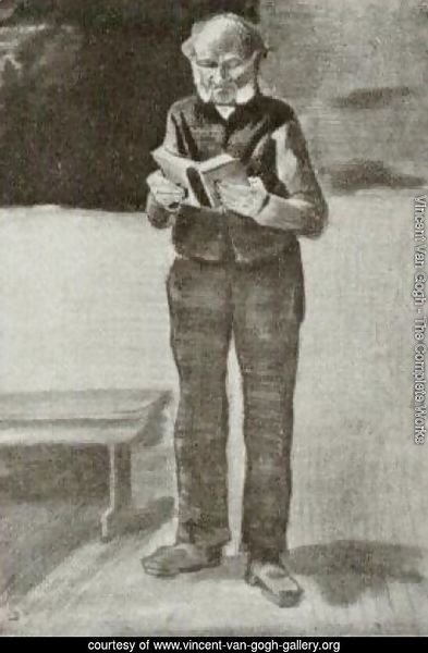 Man Standing, Reading A Book