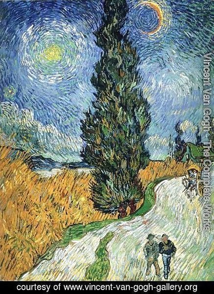 Vincent Van Gogh - Country road with cypresses
