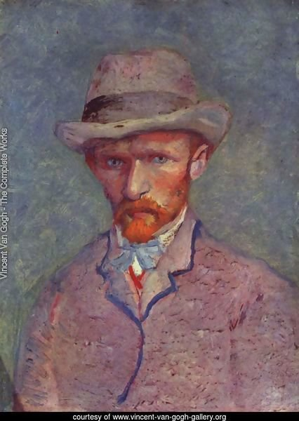 Self-portrait with gray hat