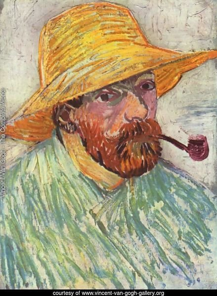 Self Portrait with Straw Hat and Pipe 2