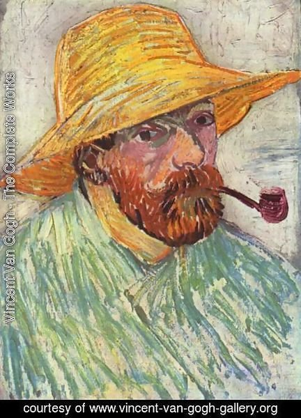 Vincent Van Gogh - Self Portrait with Straw Hat and Pipe 2