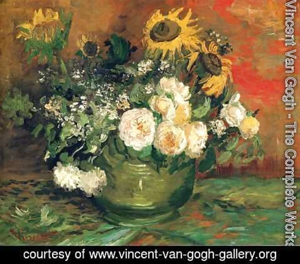 Vincent Van Gogh - Still life with roses and sunflowers