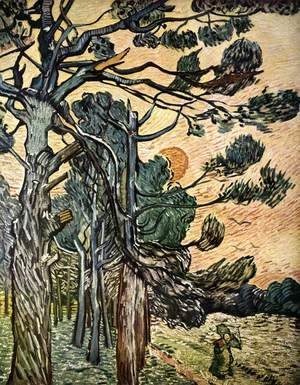 Vincent Van Gogh - Fir-woods at Sunset