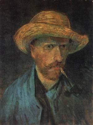 Vincent Van Gogh - Self-Portrait with Straw Hat and Pipe 3