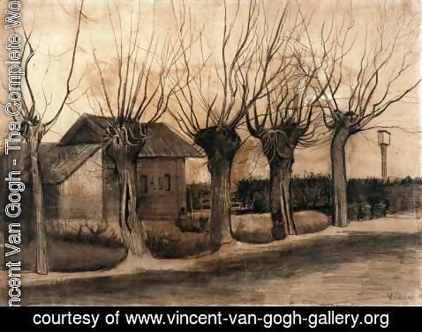 Vincent Van Gogh - Small House on a Road with Pollar Willows