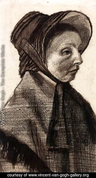 Vincent Van Gogh - Bust of a Woman with Hat Facing Right