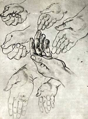 Vincent Van Gogh - Study Sheet with Seven Hands