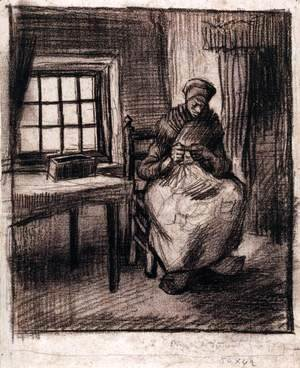 Vincent Van Gogh - Peasant Interior with a Woman Knitting