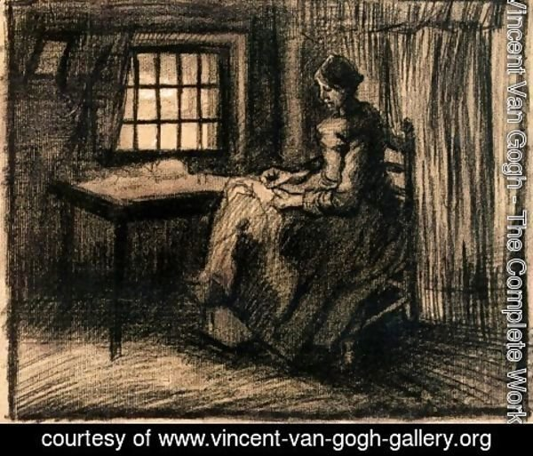 Vincent Van Gogh - Peasant Interior with a Woman Sewing