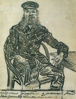 Vincent Van Gogh - Joseph Roulin, Sitting in a Cane Chair, Three-Quarter-Length