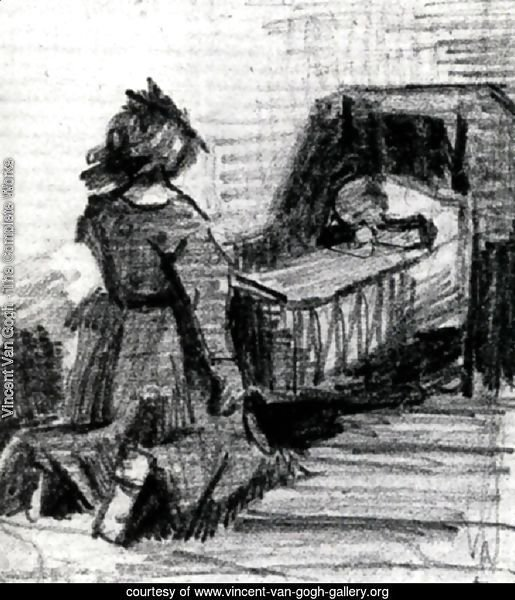 Girl Kneeling in Front of a Cradle