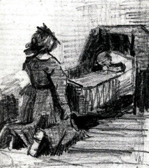 Vincent Van Gogh - Girl Kneeling in Front of a Cradle