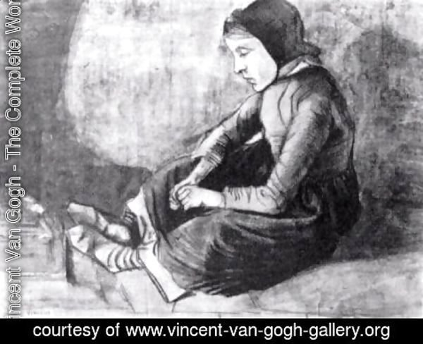 Vincent Van Gogh - Girl with Black Cap Sitting on the Ground