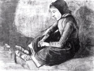 Girl with Black Cap Sitting on the Ground