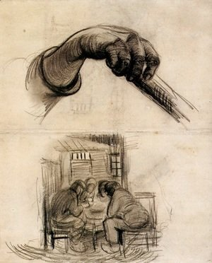 Vincent Van Gogh - Hand with a Stick, and Four People Sharing a Meal