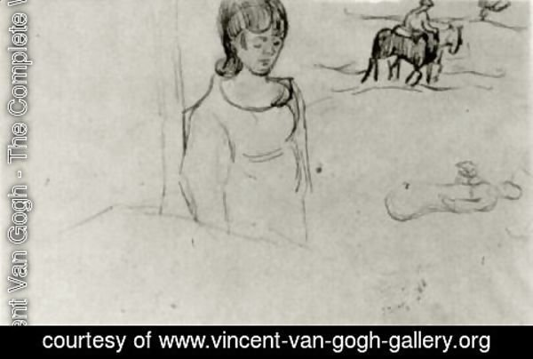 Vincent Van Gogh - Sheet with a Few Sketches of Figures