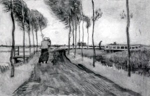 Vincent Van Gogh - Landscape with Woman Walking