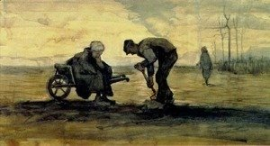 Vincent Van Gogh - Weed Burner, Sitting on a Wheelbarrow with his Wife