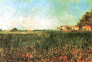 Vincent Van Gogh - Farmhouses in a Wheat Field Near Arles 2