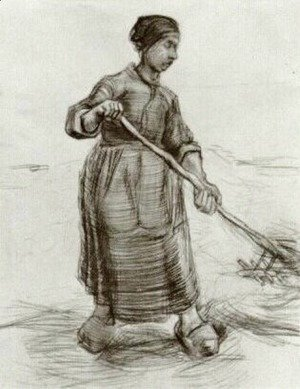Peasant Woman, Pitching Wheat or Hay