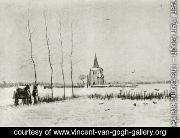 Vincent Van Gogh - Snowy Landscape with the Old Tower