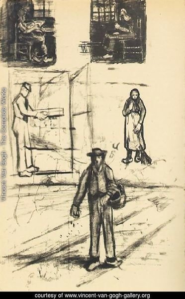 Woman near a Window twice, Man with Winnow, Sower, and Woman with Broom