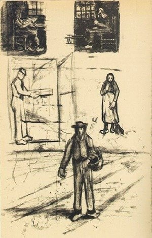 Vincent Van Gogh - Woman near a Window twice, Man with Winnow, Sower, and Woman with Broom
