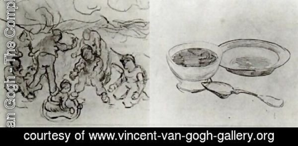 Vincent Van Gogh - Sheet with Sketches of Figures