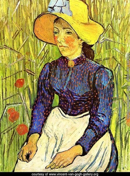 Young Peasant Girl in a Straw Hat sitting in front of a wheatfield