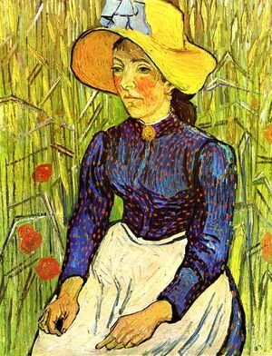 Vincent Van Gogh - Young Peasant Girl in a Straw Hat sitting in front of a wheatfield